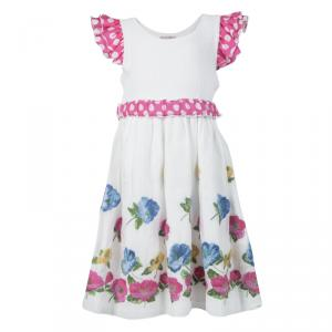 Monnalisa White Cotton Ruffle Detail Belted Floral Embroidered Dress 6 Yrs