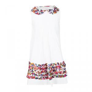 Simonetta White Cotton Contrast Ruffle Detail Sleeveless Dress 5 Yrs