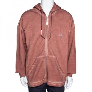 A Cold Wall Dark Orange Dyed Cotton Logo Zip Hoodie XL - used