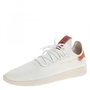 Adidas White Cotton Knit Pharrell Williams Tennis Hu Sneakers Size 46