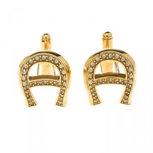Aigner Logo Crystal Gold Tone Cufflinks