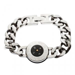 Aigner Stainless Steel Black Enamel Compass Bracelet 18 cm