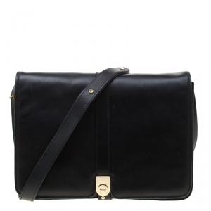 Aigner Black Leather Messenger Bag