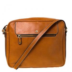 Aigner Tan Leather Messenger Bag