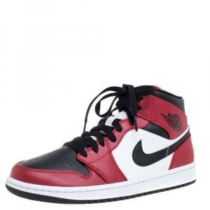 Air Jordan Black/Red Leather Air Jordan 1 Mid Chicago Black Toe Sneakers Size 42.5