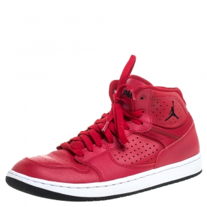 Jordan Red Perforated Leather Access Mid Sneakers Size 42