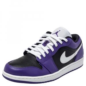 Air Jordan Purple Black Leather Air Jordan 1 Low Top Sneakers Size 43