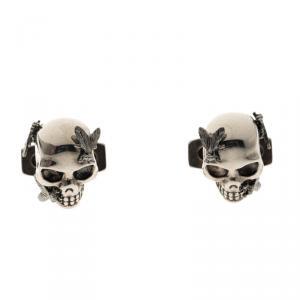 Alexander McQueen Fly & Skull Silver Tone Cufflinks