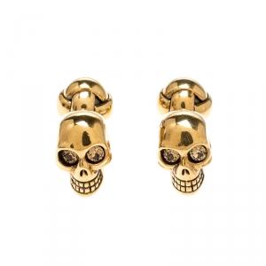 Alexander McQueen Skull Crystal Gold Tone Cufflinks