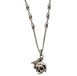 Alexander McQueen Silver Tone Raven And Skull Pendant Necklace