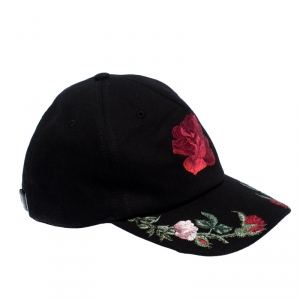 Alexander McQueen Black Stretch Cotton Rose Embroidered Baseball Cap M