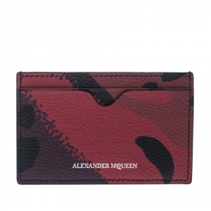 Alexander McQueen Red Camo Leather Dancing Skeleton Card Holder