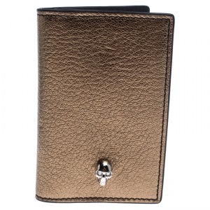 Alexander McQueen Gold Leather Skull Bifold Card Holder