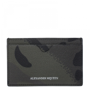 Alexander McQueen Green Camo Dancing Skeleton Leather Card Holder