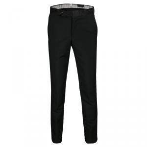 Alexander McQueen Black Satin Wasitband Detail Tuxedo Trousers M
