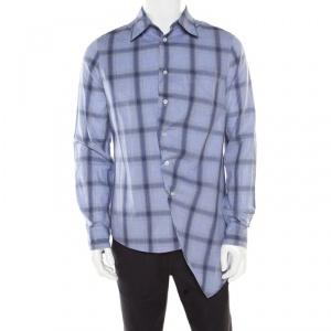 Alexander McQueen Blue Cotton Tartan Plaid Asymmetric Hem Draped Shirt M
