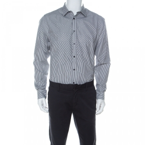 Alexander McQueen Black & White Striped Cotton Rib Cage Stitch Full Sleeve Shirt XL