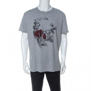 Alexander McQueen Grey Rose Printed Cotton  T-Shirt XXL