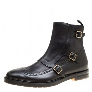 Alexander McQueen Black Brogue Leather Wingtip Buckle Biker Boots Size 44