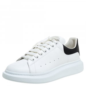 Alexander McQueen White And Black Leather Oversized Low Top Sneakers Size 46