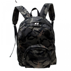 Alexander McQueen Camo Nylon Dancing Skeleton Backpack