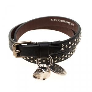 Alexander McQueen Black Studded Leather Skull Charm Double Wrap Bracelet