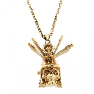 Alexander McQueen Oriental Samurai Skull Crystal Studded Gold Tone Necklace