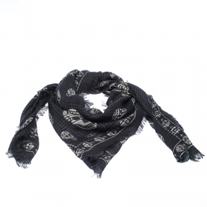 Alexander McQueen Dark Blue Checked and Skull Jacquard Silk Wool Scarf