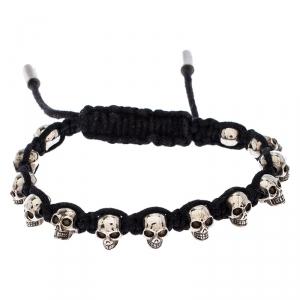 Alexander McQueen Black Multi Skull Braided Friendship Bracelet