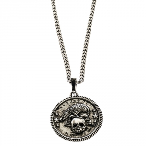 Alexander McQueen Crow & Skull Motif Medallion Silver Tone Long Necklace