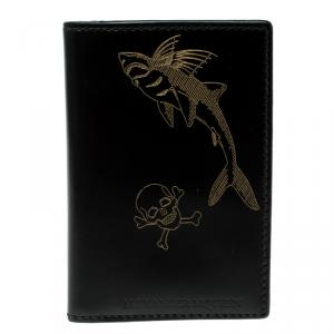 Alexander McQueen Black Printed Patent Leather Card Holder