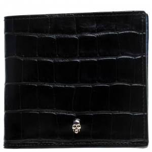 Alexander McQueen Black Croc Embossed Leather Bi Fold Wallet