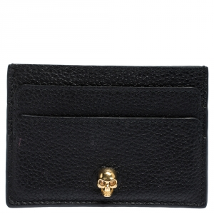 Alexander McQueen Black Leather Skull Card Holder