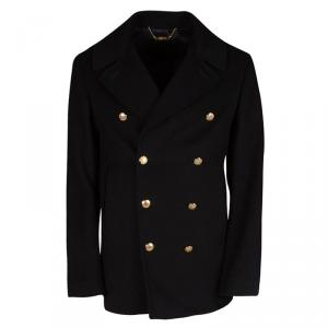 Alexander McQueen Black Wool Cashmere Double Breasted Coat L
