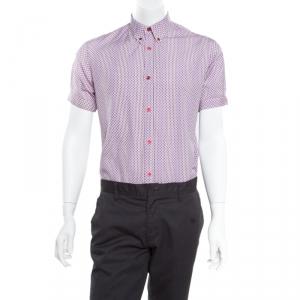 Alexander McQueen Mini Skull Print Striped Cotton Poplin Short Sleeve Shirt M