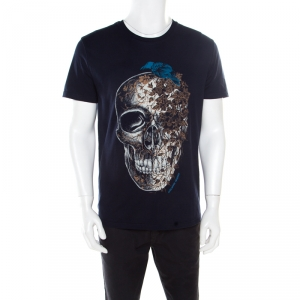 Alexander McQueen Navy Blue Skull and Ivy Printed Cotton T-Shirt L