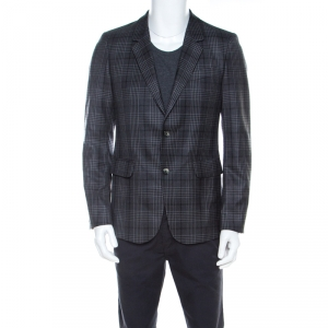 Alexander McQueen Grey Plaid Wool Classic Tailored Blazer L