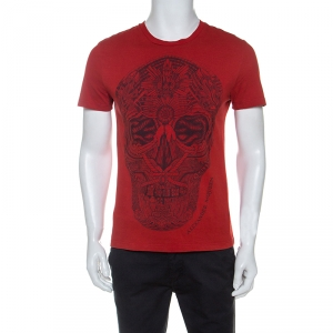 Alexander McQueen Red Skull Printed Cotton Crew Neck T-shirt S