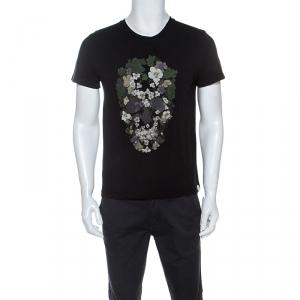 Alexander McQueen Black Cotton Floral Skull Print T-shirt S