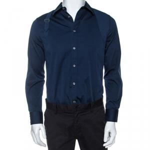 Alexander McQueen Teal Stretch Cotton Buckle Strap Detail Shirt L