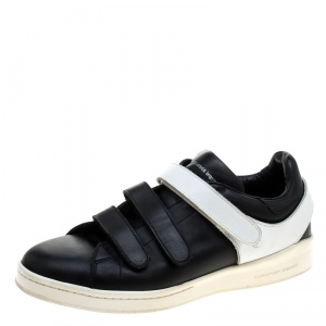 Alexander McQueen Monochrome Leather Velcro Sneakers Size 44