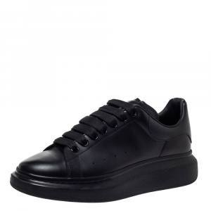 Alexander McQueen Black Leather Larry Low Top Sneakers Size 40