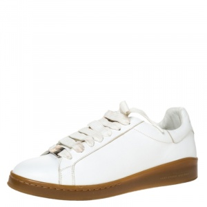 Alexander Mcqueen White Leather Larry Low Top Sneakers Size 44