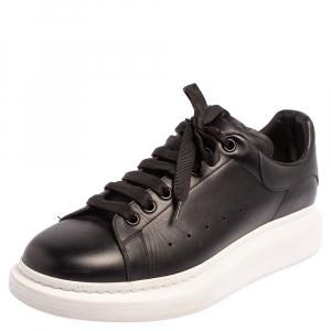 Alexander McQueen Black Leather Oversized Low Top Sneakers Size 44