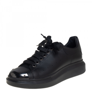 Alexander McQueen Black Leather Oversized Sneakers Size 40