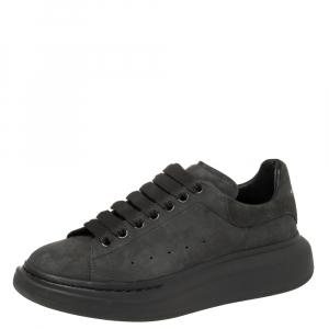 Alexander McQueen Grey Suede Oversized Low Top Sneakers Size 40
