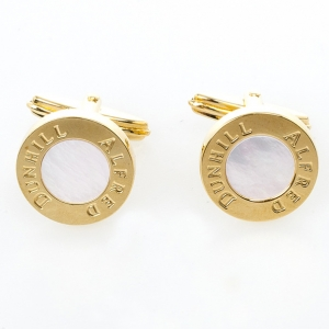 Alfred Dunhill Mother Of Pearl Gold Plated Cufflinks