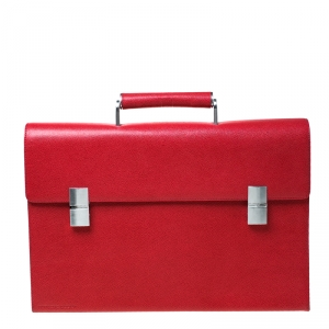 Porsche Red Leather French Classic Briefcase