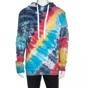 Amiri Multicolor Tie Dye Knit Star Patched Hooded Sweatshirt L