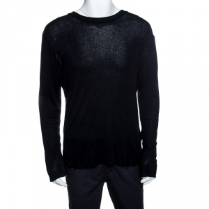 Amiri Black Cotton Blend Distressed Long Sleeve T- Shirt S
